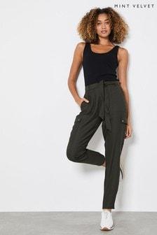 Mint Velvet Green Khaki Belted Cargo Trousers