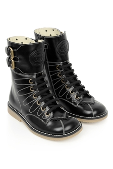GUCCI Kids Girls Black Leather Lace-Up Boots