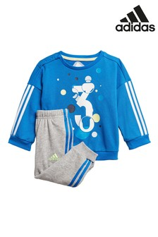 adidas Blue 3 Graphic Crew Sweater And Jogger Set