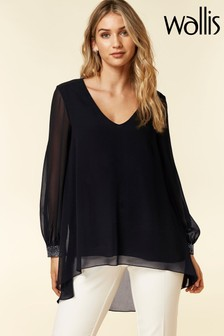 Wallis Black Embellished Cuff Shirt