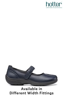 Hotter Blue Shake II Wide Fit Touch Fastening Mary Jane Shoes