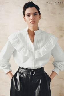 AllSaints White Fiala Frill Shirt