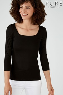 Pure Collection Black Soft Jersey Square Neck Top