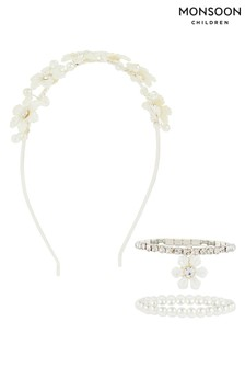 Monsoon Pearly Dream Flower Aliceband & Set