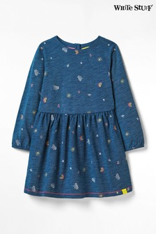 White Stuff Blue Kids Pop Spot Jersey Dress