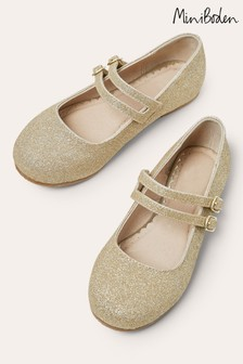 Boden Gold Double Strap Party Shoes
