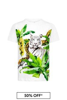Molo Boys White Cotton T-Shirt
