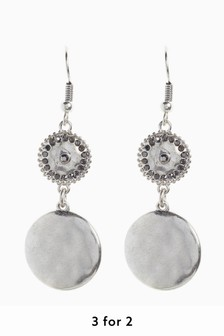 Hammered Effect Sparkle Earrings