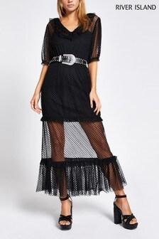 River Island Black Dexter Midi Lace Dress