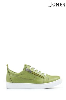 Jones Bootmaker Green Mila Lace-Up Leather Trainers