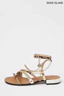 River Island Brown Chain Trim Sandals
