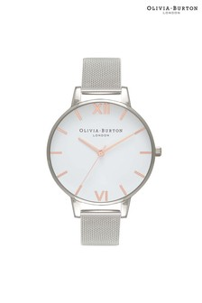 Olivia Burton White Dial Rose Gold & Silver Mesh With Classic Chain Bracelet Silver & Rose Gold Watch