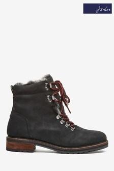 Joules Black Ashwood Faux Fur Lined Biker Boots