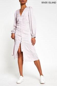 River Island Pink Dark Jacquard Shoulder Pad Midi Dress