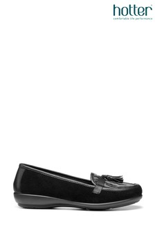 Hotter Black Alice Slip-On Loafer/Moccasin Shoes