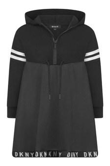 DKNY Girls Black Hooded Branded Dress