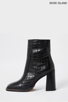 River Island Black Square Toe Leather Boots