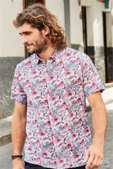 Short Sleeve Parrot Print Shirt
