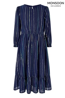 Monsoon Children Navy Tia Tiered Dress