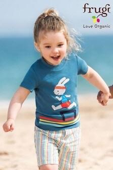 Frugi Blue Bunny Appliqué Organic Cotton T-Shirt