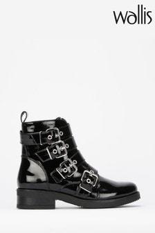 Wallis Black Adler Multi Buckle Biker Boots