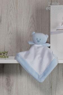 Emile et Rose Blue & White Velour Teddy Comforter