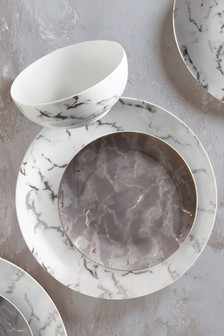 Silver Marble 12 Piece Dinner Set