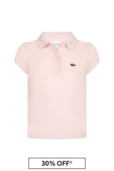 Lacoste Kids Girls Pink Cotton Polo Top