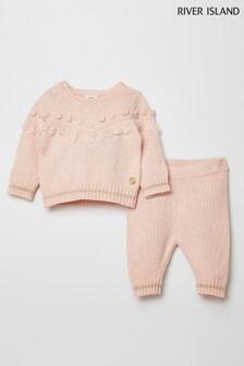 River Island Pink Fringe Knitted Set