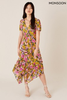 Monsoon Rachel Floral Hanky Hem Dress