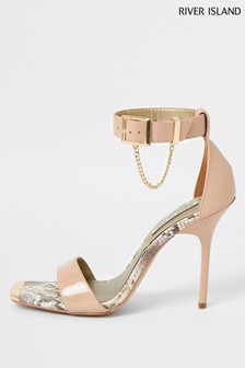 River Island Pink Light Chain Barely There Sandals