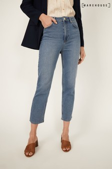 Warehouse Blue Slim Cut Cropped Jeans