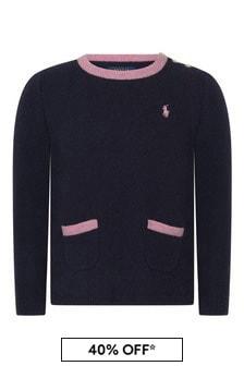Ralph Lauren Kids Girls Navy Merino Wool Swing Sweater