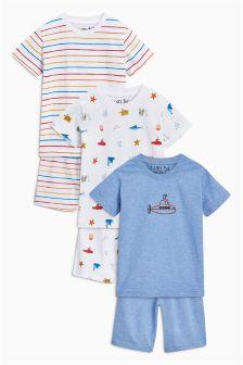 Sea Life Short Pyjamas Three Pack (9mths-8yrs)