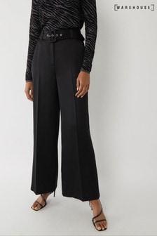 Warehouse Black Satin Wide Leg Trousers