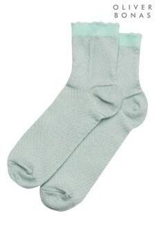 Oliver Bonas Shimmer Chevron Mint Socks