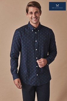 Crew Clothing Company Blue Long Sleeve Slim Kirby Print Shirt