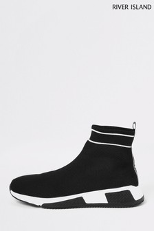 River Island Black Sock High Runner Trainers
