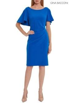 Gina Bacconi Blue Chana Stretch Crepe Dress With Tucks