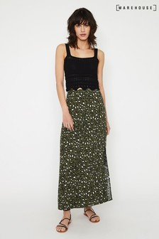 Warehouse Green Leopard Print Maxi Skirt