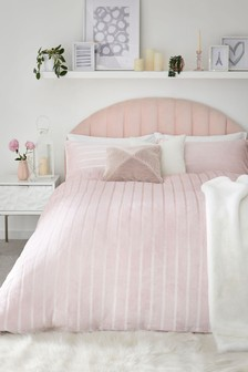Fleece Satin Stripe Duvet Cover and Pillowcase Set