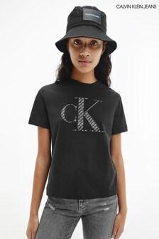 Calvin Klein Jeans Black Satin CK T-Shirt