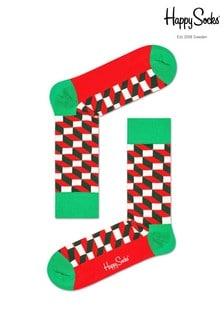 Happy Socks Red Men's Filled Optic Socks