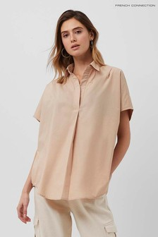 French Connection Brown Cele Rhodes Poplin Sleeveless Shirt