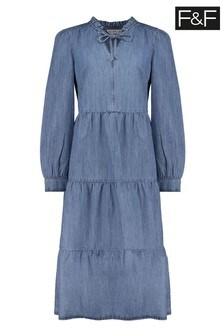 F&F Denim Midi Tiered Dress
