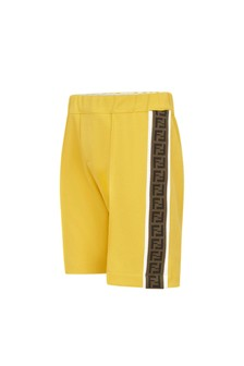 Fendi Kids Baby Boys Yellow Cotton Shorts