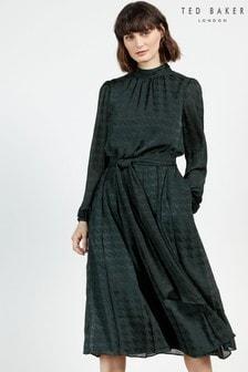 Ted Baker Wilmer Satin Pleated Midi Dress
