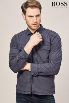BOSS Navy Lovel Zip Overshirt