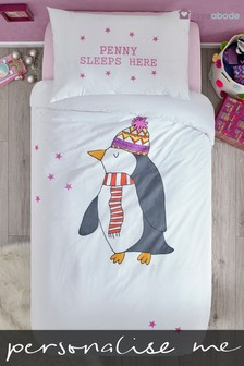 Personalised Penguin Duvet Cover and Pillowcase Set by Loveabode