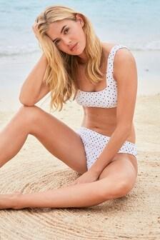 Shirred Square Neck Crop Bikini Top